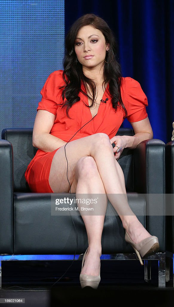 Actress Leah Gibson of the television show 'Rogue' speaka during DIRECTV's Audience Network portion of the 2013 Winter Television Critics Association Press Tour at the Langham Hotel and Spa on January 9, 2013 in Pasadena, California.