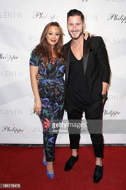 Actress Leah Remini and dancer Valentin Chmerkovskiy attend Valentin Launch Party at Philippe Chow on October 17 2013 in Los Angeles California