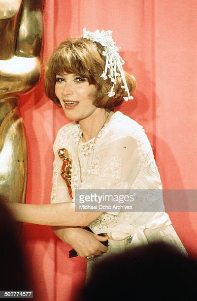Actress Lee Grant poses backstage after winning ' Best Supporting Actress' during the 48th Academy Awards at Dorothy Chandler Pavilion in Los...