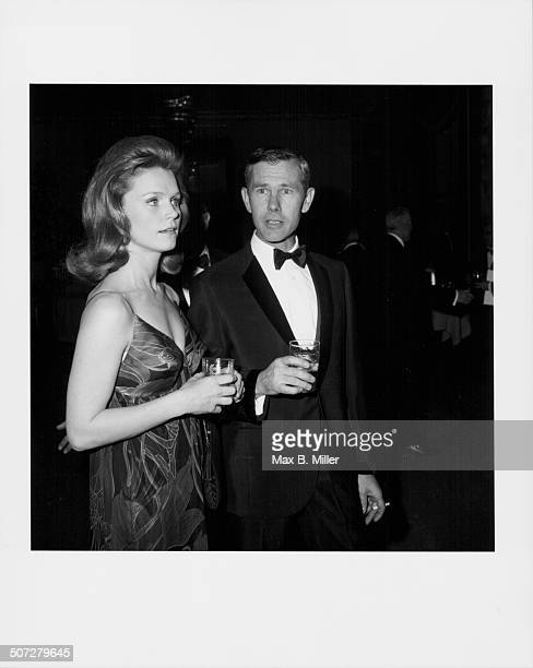 Actress Lee Remick and comedian Johnny Carson attending a dinner held in honor of Sammy Davis Jr at the Friar's Club New York City April 1966
