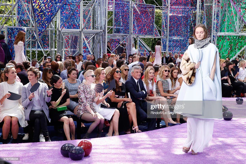 Actress Leelee Sobieski, Actress Chiara Mastroianni, Actress Yu Aoi, Musician Grimes, Actress Emily Blunt, Katia Toledano, her husband CEO Dior Sidney Toledano, Natalia Vodianova and Model Rosie Huntington-Whiteley attend the Christian Dior show as part of Paris Fashion Week Haute Couture Fall/Winter 2015/2016 on July 6, 2015 in Paris, France.