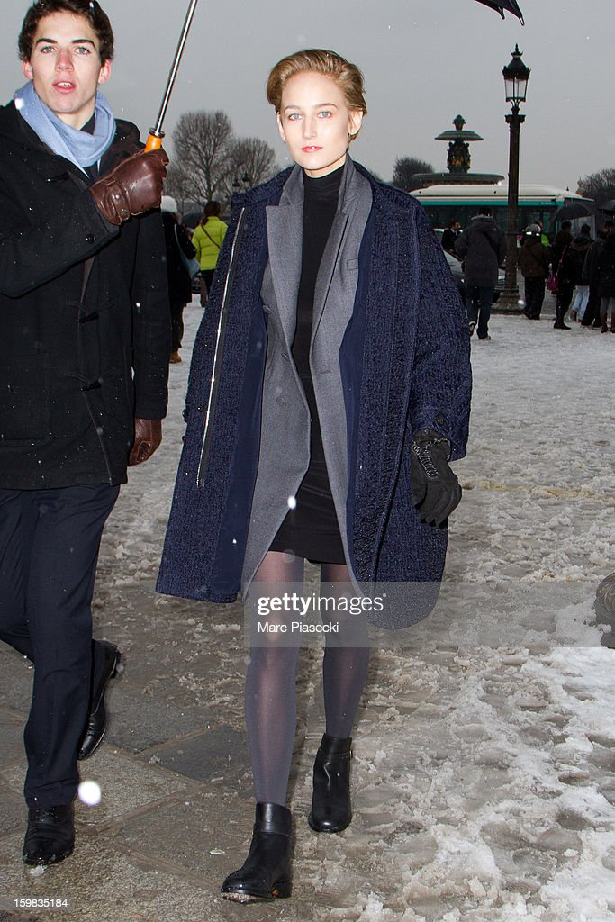Actress Leelee Sobieski is seen leaving the Christian Dior Spring/Summer 2013 Haute-Couture show as part of Paris Fashion Week at on January 21, 2013 in Paris, France.