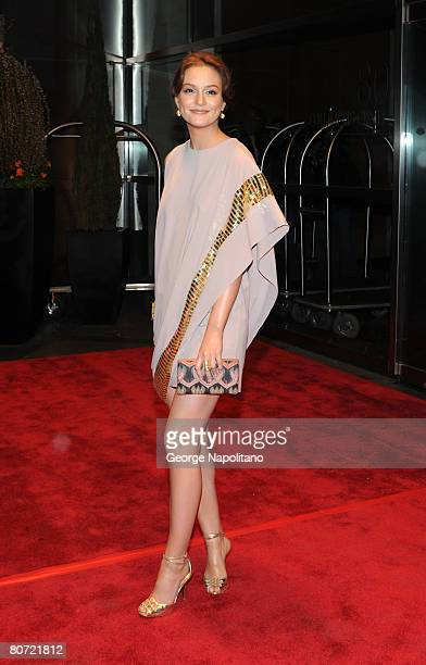 Actress Leighton Meester arrives at New Yorkers For Children Celebrates New Year's in April A Fool's Fte on April 16 2008 at the Mandarin Oriental at...