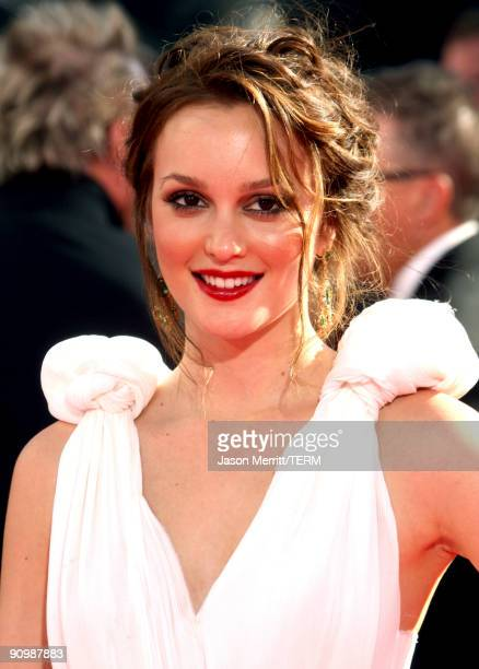 Actress Leighton Meester arrives at the 61st Primetime Emmy Awards held at the Nokia Theatre on September 20 2009 in Los Angeles California
