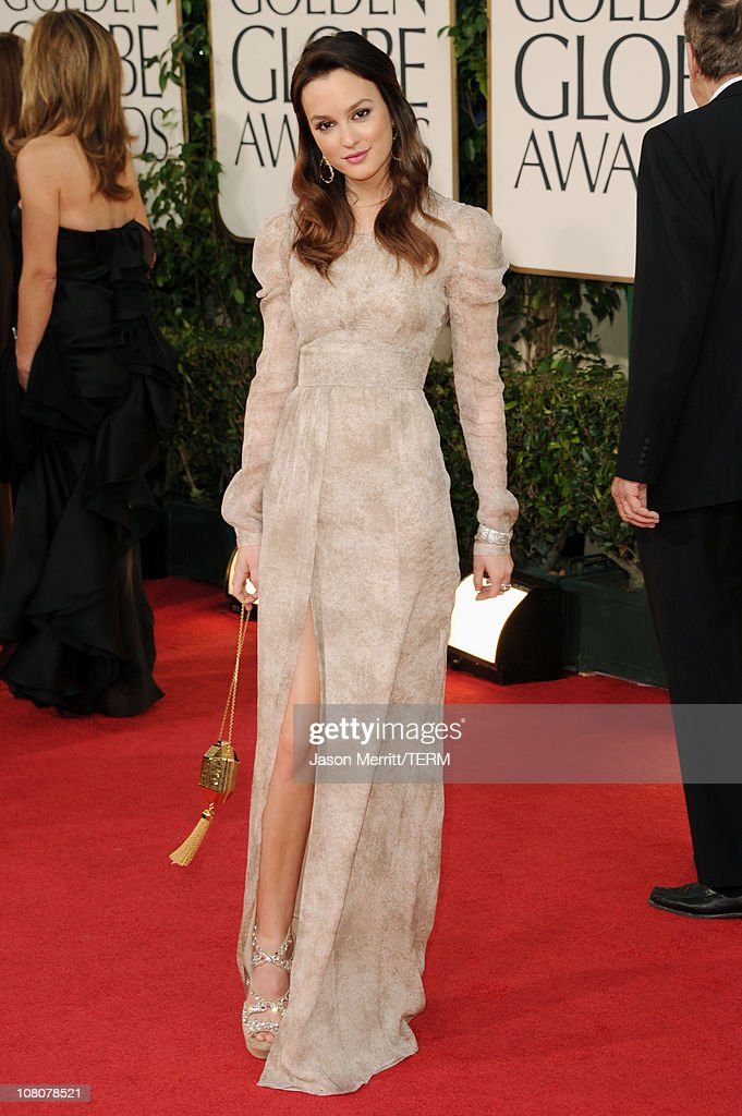 Actress <a gi-track='captionPersonalityLinkClicked' href=/galleries/search?phrase=Leighton+Meester&family=editorial&specificpeople=3947554 ng-click='$event.stopPropagation()'>Leighton Meester</a> arrives at the 68th Annual Golden Globe Awards held at The Beverly Hilton hotel on January 16, 2011 in Beverly Hills, California.