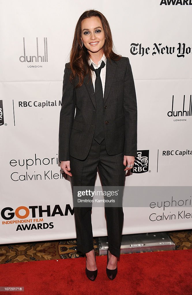 Actress <a gi-track='captionPersonalityLinkClicked' href=/galleries/search?phrase=Leighton+Meester&family=editorial&specificpeople=3947554 ng-click='$event.stopPropagation()'>Leighton Meester</a> attends IFP's 20th Annual Gotham Independent Film Awards at Cipriani, Wall Street on November 29, 2010 in New York City.