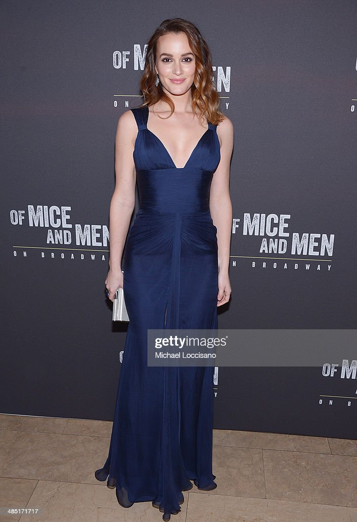 Actress <a gi-track='captionPersonalityLinkClicked' href=/galleries/search?phrase=Leighton+Meester&family=editorial&specificpeople=3947554 ng-click='$event.stopPropagation()'>Leighton Meester</a> attends the after party for the Broadway opening night for 'Of Mice and Men' at The Plaza Hotel on April 16, 2014 in New York City.