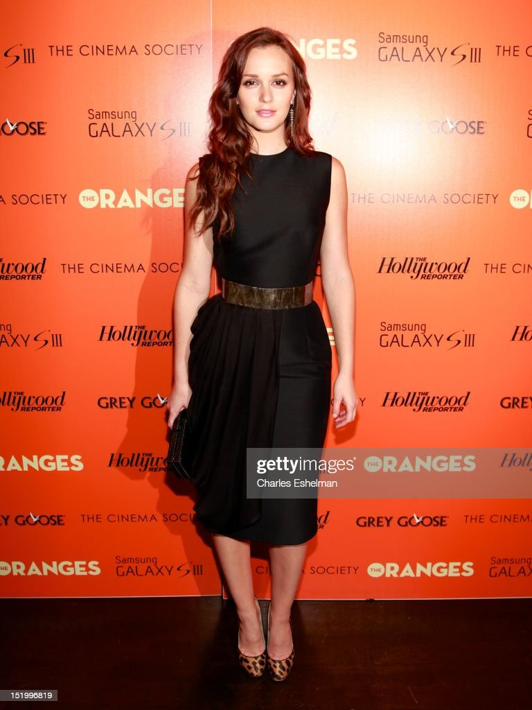 Actress Leighton Meester attends The Cinema Society with The Hollywood Reporter & Samsung Galaxy S III host a screening of 'The Oranges' at Tribeca Screening Room on September 14, 2012 in New York City.