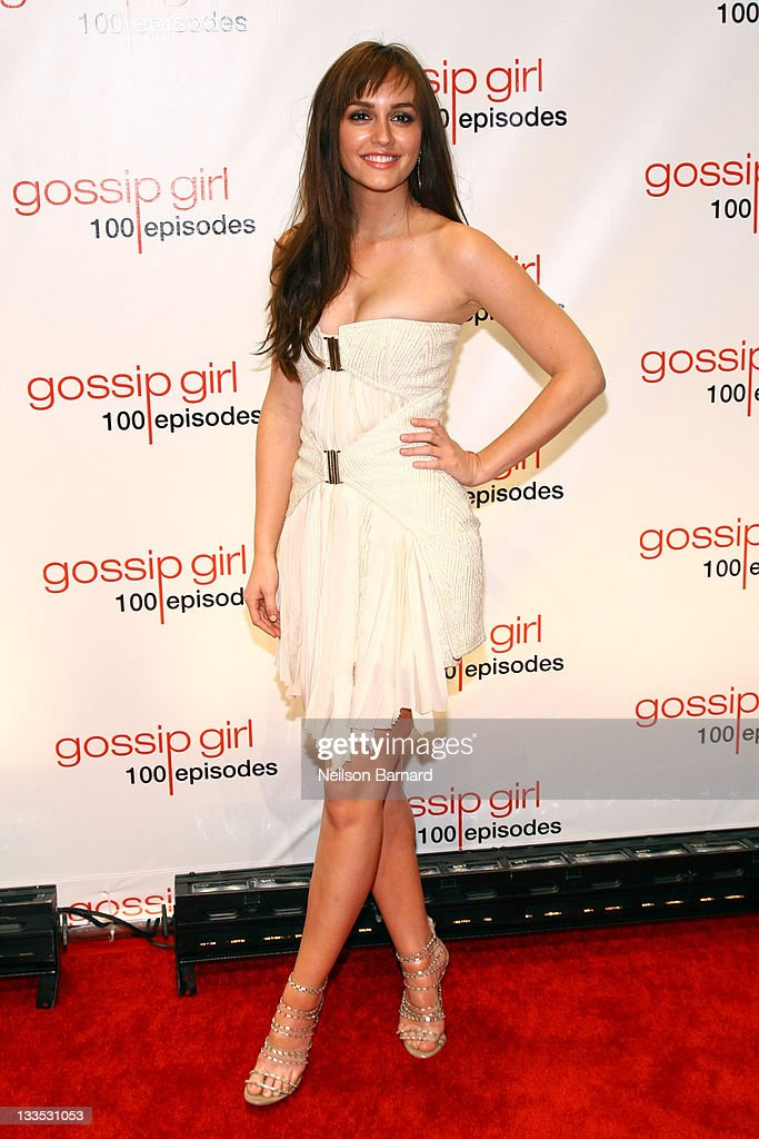Actress <a gi-track='captionPersonalityLinkClicked' href=/galleries/search?phrase=Leighton+Meester&family=editorial&specificpeople=3947554 ng-click='$event.stopPropagation()'>Leighton Meester</a> attends the 'Gossip Girl' 100 episode celebration at Cipriani Wall Street on November 19, 2011 in New York City.