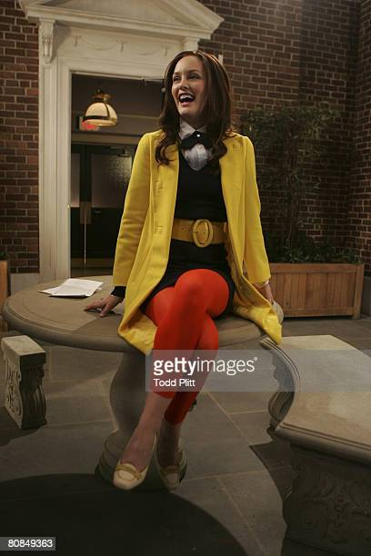 Actress Leighton Meester between takes on the set of the TV show Gossip Girl at Silver Cup Studios in Long Island City New York