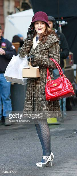 Actress Leighton Meester is seen on the set of the TV show ' Gossip Girls' on location on the streets of Manhattan on February 2 2009 in New York City