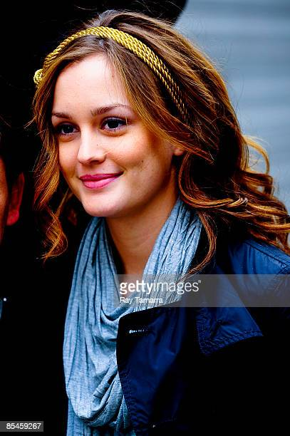 Actress Leighton Meester walks to the 'Gossip Girl' film set in Midtown Manhattan on March 16 2009 in New York City