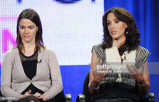 Actress Leisha Hailey and actress Jennifer Beals of the television show 'The L Word' wipes attends the CBS Showtime portion of the 2009 Winter...