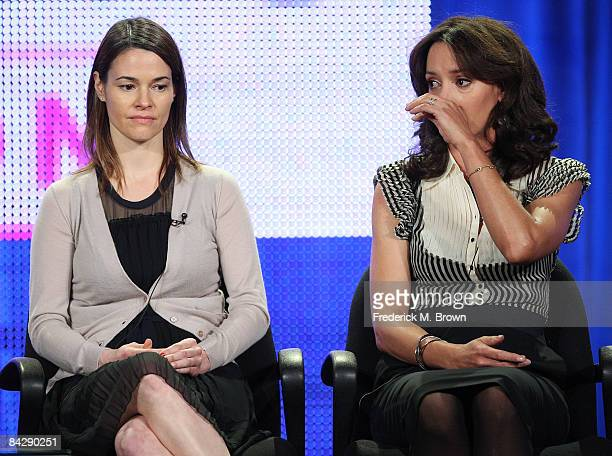 Actress Leisha Hailey watches as actress Jennifer Beals of the television show 'The L Word' wipes away a tear during the CBS Showtime portion of the...