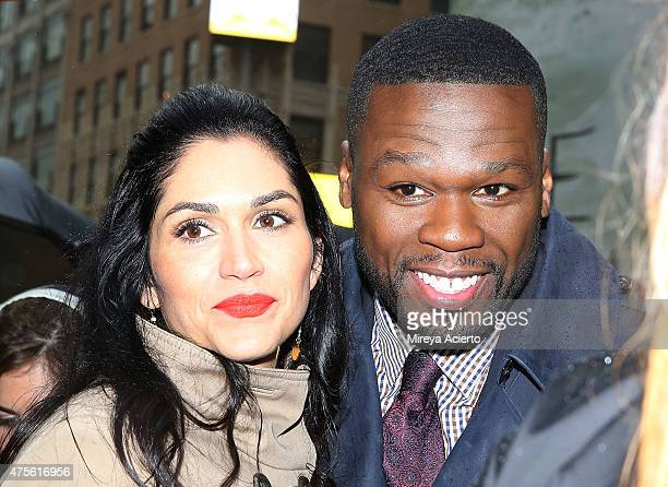 Actress Lela Loren and executive producer 50 Cent join the cast of 'Power' to hand out tickets during the New York premiere on June 2 2015 in New...