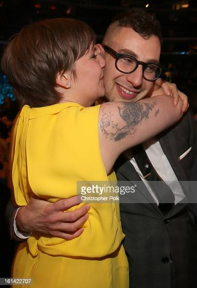 Actress Lena Dunham and guitarist Jack Antonoff of fun attend the 55th Annual GRAMMY Awards at STAPLES Center on February 10 2013 in Los Angeles...