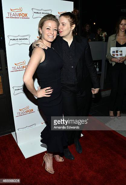 Actress Lena Dunham and HBO Programming Director Kathleen McCaffrey arrive at the Raising The Bar To End Parkinson's event at Public School 818 on...