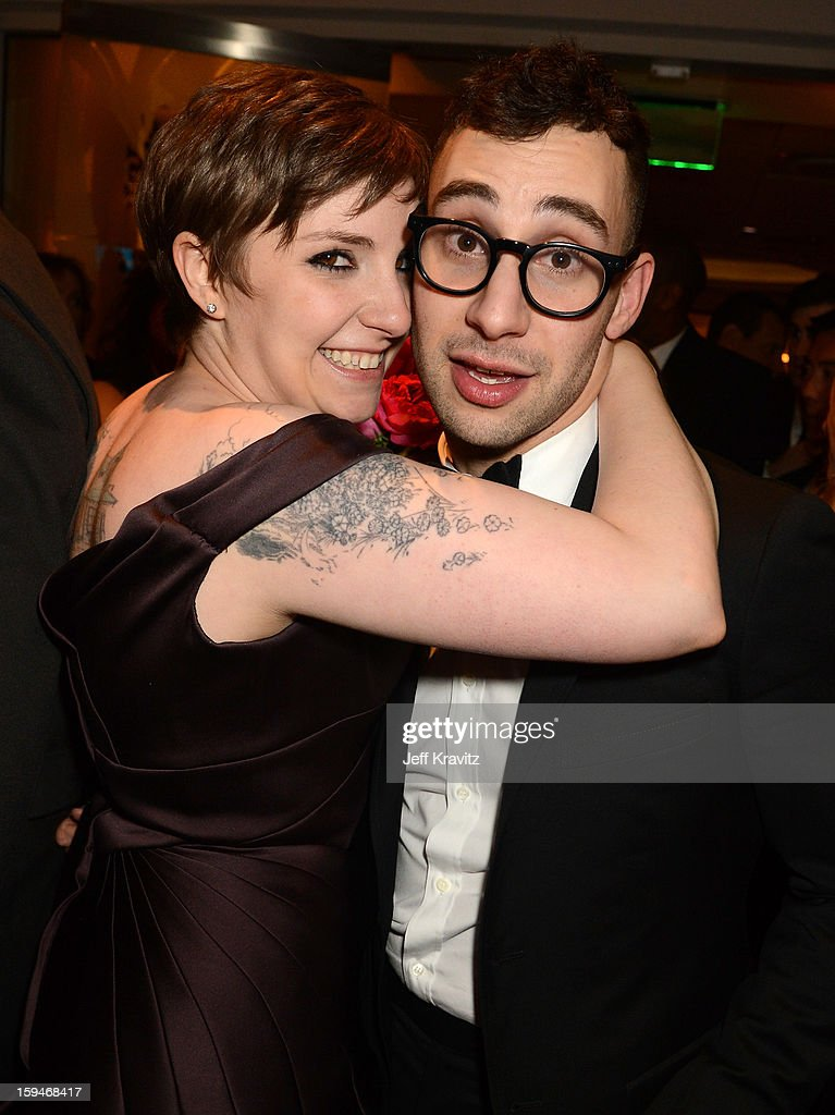 Actress Lena Dunham (L) and musician Jack Antonoff attend HBO's Official Golden Globe Awards After Party held at Circa 55 Restaurant at The Beverly Hilton Hotel on January 13, 2013 in Beverly Hills, California.