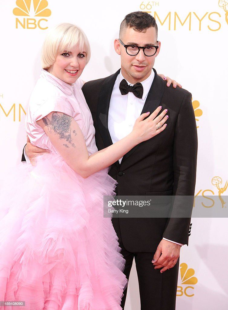 Actress Lena Dunham and musician Jack Antonoff of the band Fun arrive at the 66th Annual Primetime Emmy Awards at Nokia Theatre LA Live on August 25...