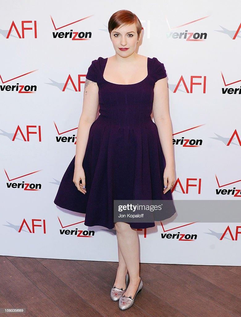 Actress <a gi-track='captionPersonalityLinkClicked' href=/galleries/search?phrase=Lena+Dunham&family=editorial&specificpeople=5836535 ng-click='$event.stopPropagation()'>Lena Dunham</a> arrives at the 2012 AFI Awards Luncheon on January 11, 2013 in Beverly Hills, California.
