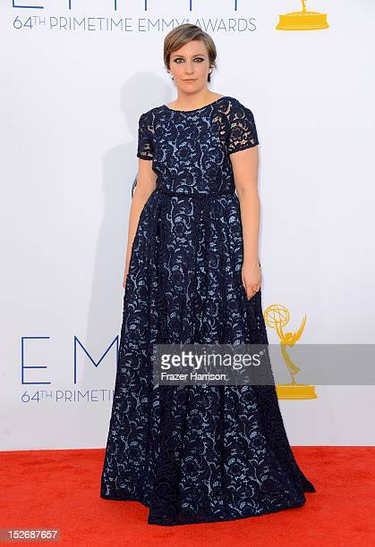 Actress Lena Dunham arrives at the 64th Annual Primetime Emmy Awards at Nokia Theatre LA Live on September 23 2012 in Los Angeles California