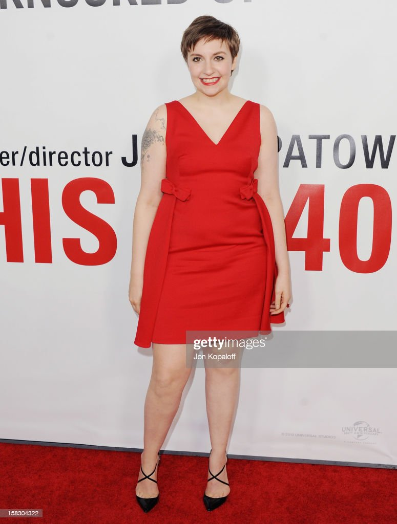 Actress <a gi-track='captionPersonalityLinkClicked' href=/galleries/search?phrase=Lena+Dunham&family=editorial&specificpeople=5836535 ng-click='$event.stopPropagation()'>Lena Dunham</a> arrives at the Los Angeles Premiere 'This Is 40' at Grauman's Chinese Theatre on December 12, 2012 in Hollywood, California.
