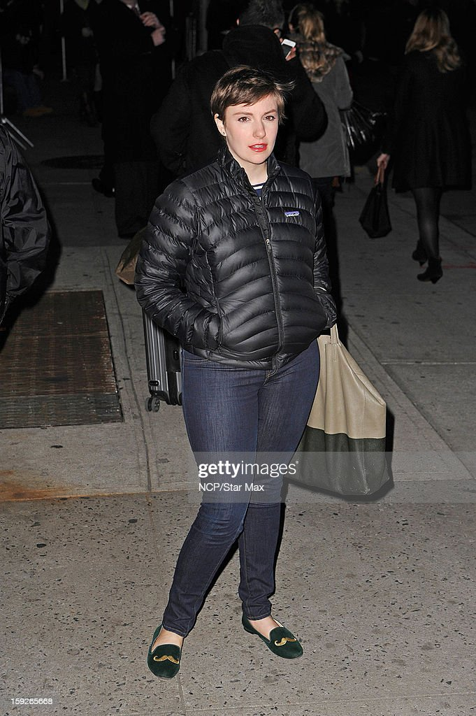 Actress <a gi-track='captionPersonalityLinkClicked' href=/galleries/search?phrase=Lena+Dunham&family=editorial&specificpeople=5836535 ng-click='$event.stopPropagation()'>Lena Dunham</a> as seen on January 10, 2013 in New York City.