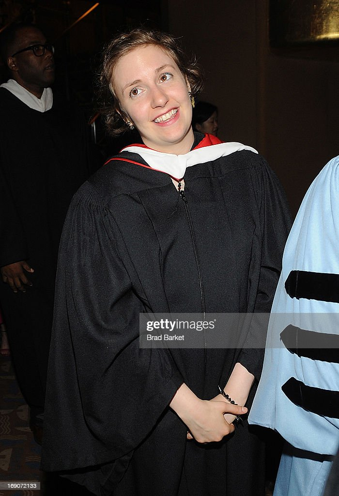 Actress <a gi-track='captionPersonalityLinkClicked' href=/galleries/search?phrase=Lena+Dunham&family=editorial&specificpeople=5836535 ng-click='$event.stopPropagation()'>Lena Dunham</a> attends 2013 Barnard College Commencement at Radio City Music Hall on May 19, 2013 in New York City.