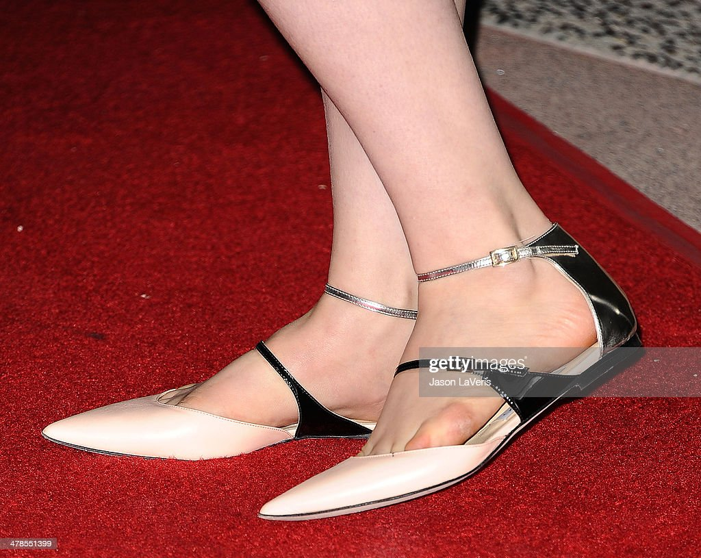 Actress Lena Dunham (shoe detail) attends an evening with 'Girls' at Leonard H. Goldenson Theatre on March 13, 2014 in North Hollywood, California.