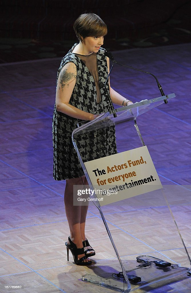 Actress <a gi-track='captionPersonalityLinkClicked' href=/galleries/search?phrase=Lena+Dunham&family=editorial&specificpeople=5836535 ng-click='$event.stopPropagation()'>Lena Dunham</a> attends the 2013 Actors Fund Gala at the Marriott Marquis Hotel on April 29, 2013 in New York City.