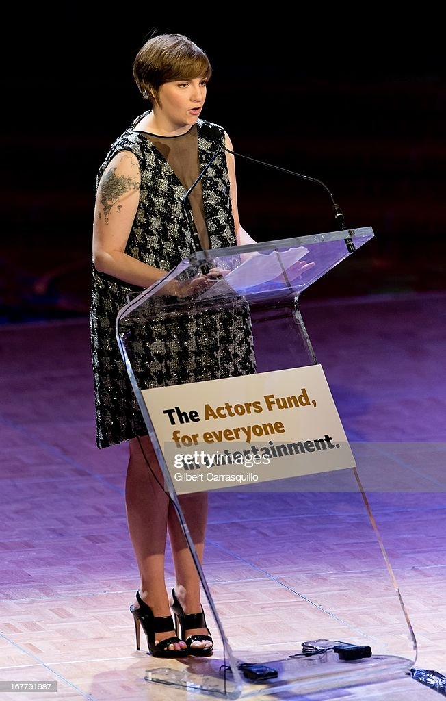 Actress Lena Dunham attends the 2013 Actors Fund's Annual Gala Honoring Robert De Niro at The New York Marriott Marquis on April 29, 2013 in New York City.