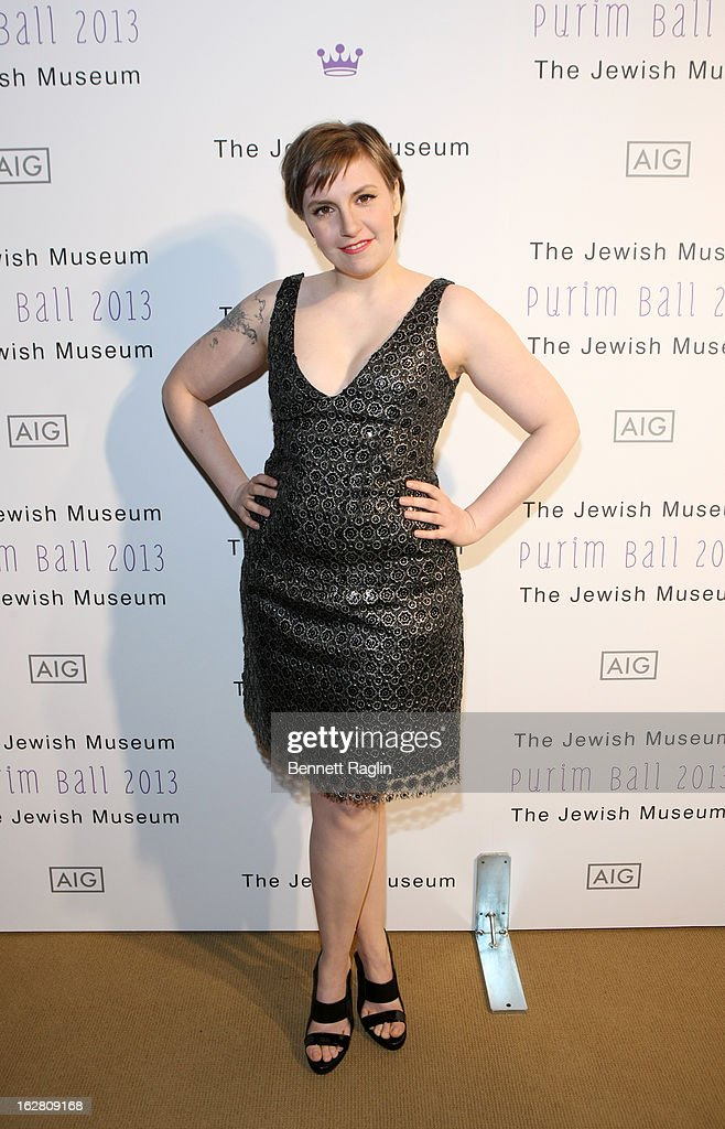 Actress <a gi-track='captionPersonalityLinkClicked' href=/galleries/search?phrase=Lena+Dunham&family=editorial&specificpeople=5836535 ng-click='$event.stopPropagation()'>Lena Dunham</a> attends the 2013 Jewish Museum Purim Ball at Park Avenue Armory on February 27, 2013 in New York City.