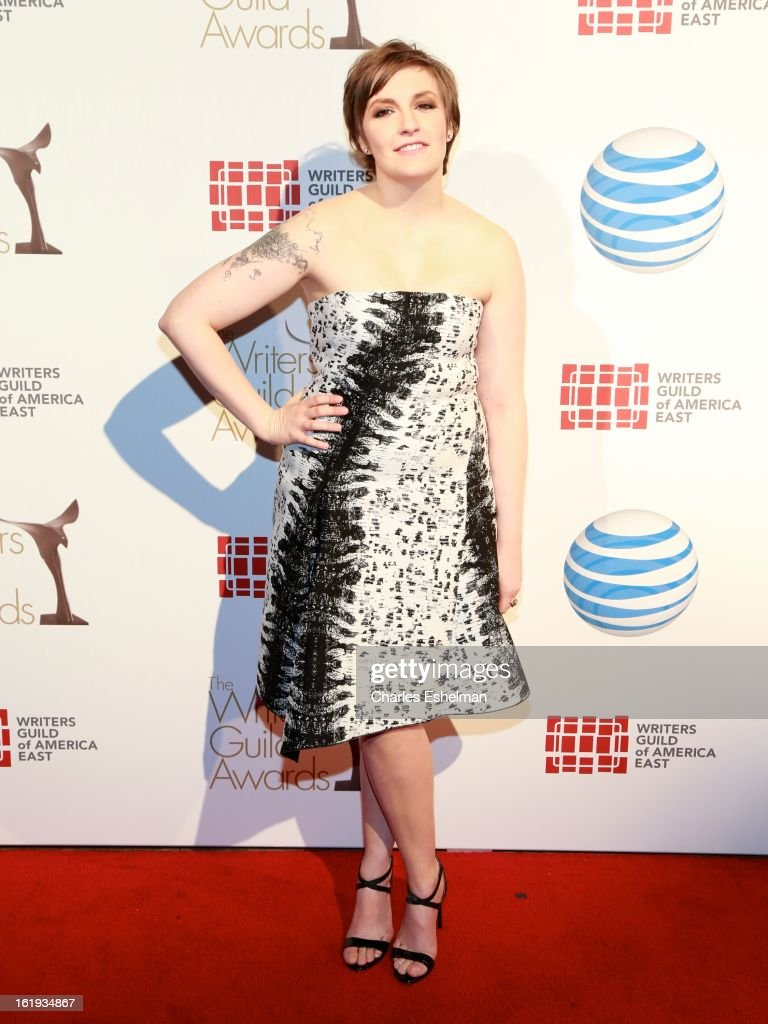 Actress <a gi-track='captionPersonalityLinkClicked' href=/galleries/search?phrase=Lena+Dunham&family=editorial&specificpeople=5836535 ng-click='$event.stopPropagation()'>Lena Dunham</a> attends the 65th Annual Writers Guild East Coast Awards at B.B. King Blues Club & Grill on February 17, 2013 in New York City.