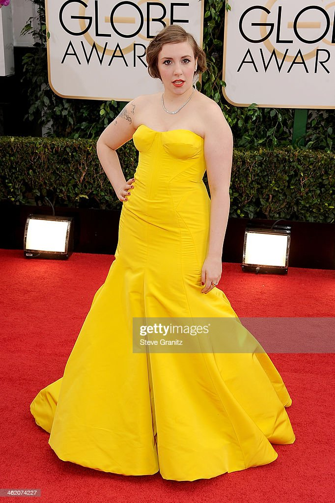 Actress Lena Dunham attends the 71st Annual Golden Globe Awards held at The Beverly Hilton Hotel on January 12 2014 in Beverly Hills California