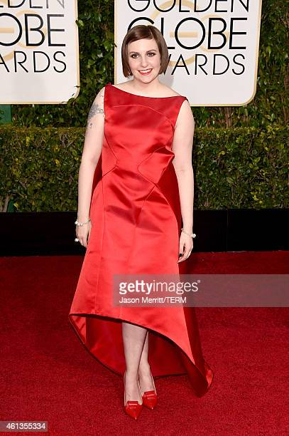 Actress Lena Dunham attends the 72nd Annual Golden Globe Awards at The Beverly Hilton Hotel on January 11 2015 in Beverly Hills California