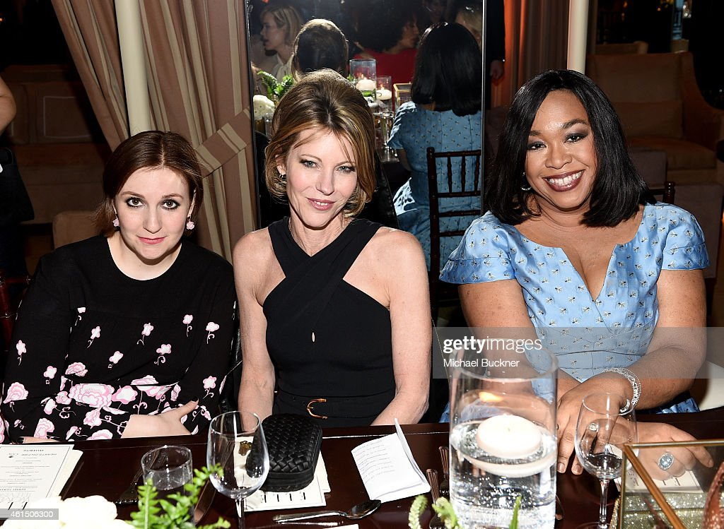 Actress Lena Dunham ELLE EditorinChief Robbie Myers and writer/producer Shonda Rhimes attend ELLE's Annual Women in Television Celebration on January...