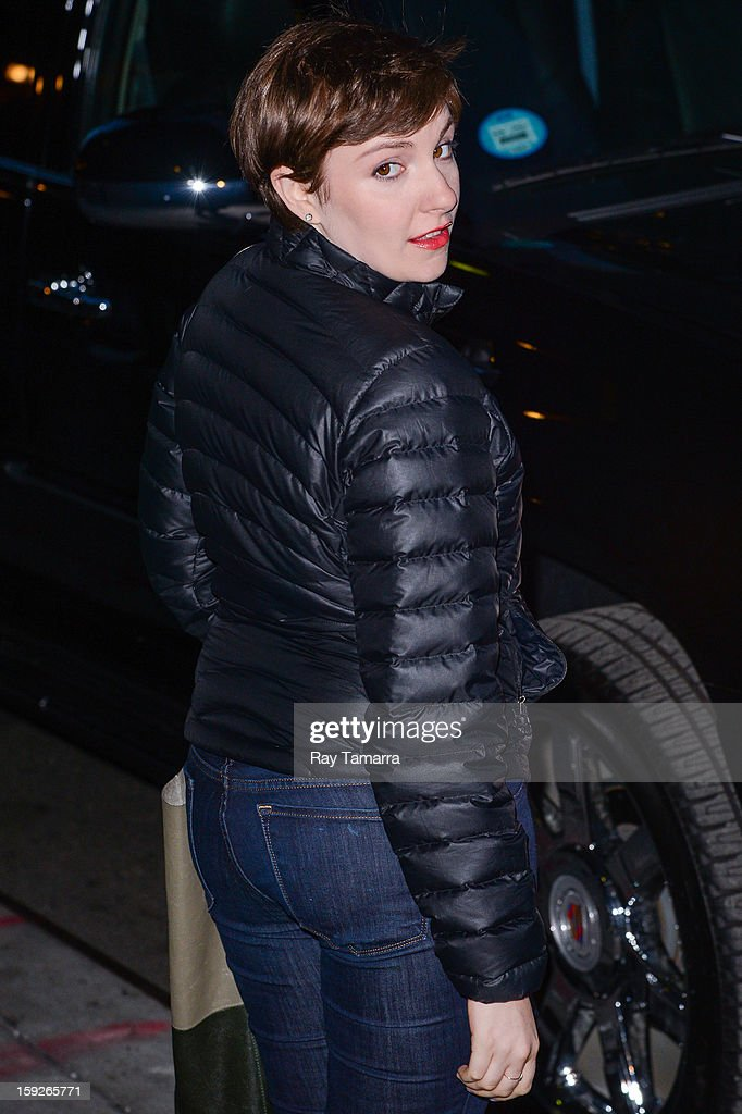 Actress <a gi-track='captionPersonalityLinkClicked' href=/galleries/search?phrase=Lena+Dunham&family=editorial&specificpeople=5836535 ng-click='$event.stopPropagation()'>Lena Dunham</a> leaves the 'Late Show With David Letterman' taping at the Ed Sullivan Theater on January 10, 2013 in New York City.