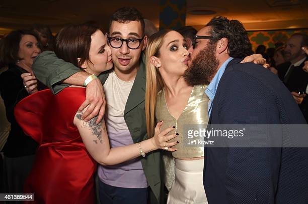 Actress Lena Dunham musician Jack Antonoff actress Jemima Kirke and Mike Mosberg attend HBO's Official Golden Globe Awards After Party at The Beverly...