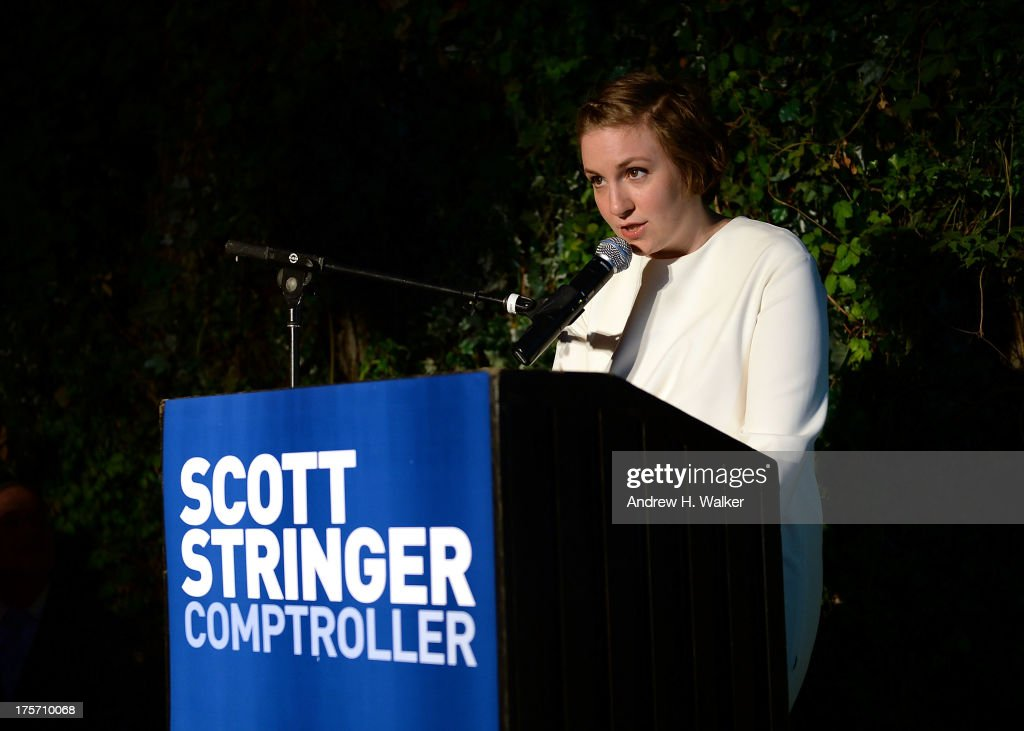 Actress <a gi-track='captionPersonalityLinkClicked' href=/galleries/search?phrase=Lena+Dunham&family=editorial&specificpeople=5836535 ng-click='$event.stopPropagation()'>Lena Dunham</a> speaks at the Young New York Fundraiser in support of Scott Stringer for NYC Comptroller at Maritime Hotel on August 6, 2013 in New York City.