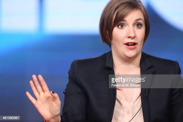 Actress Lena Dunham speaks onstage during the 'Girls' panel discussion at the HBO portion of the 2014 Winter Television Critics Association tour at...