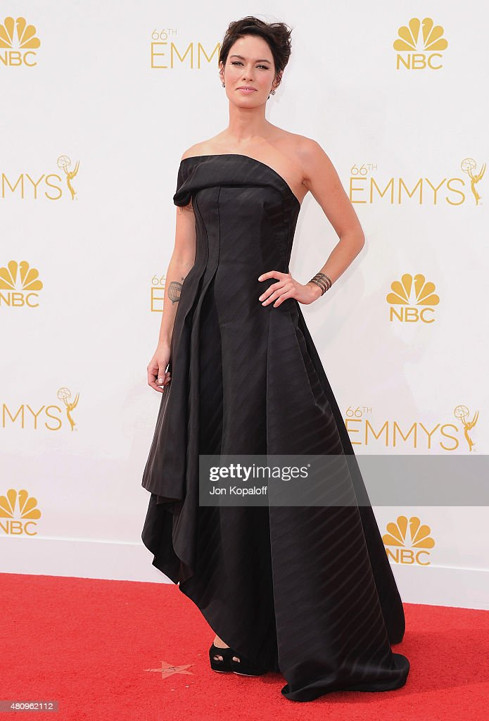 Actress <a gi-track='captionPersonalityLinkClicked' href=/galleries/search?phrase=Lena+Headey&family=editorial&specificpeople=2263449 ng-click='$event.stopPropagation()'>Lena Headey</a> arrives at the 66th Annual Primetime Emmy Awards at Nokia Theatre L.A. Live on August 25, 2014 in Los Angeles, California.