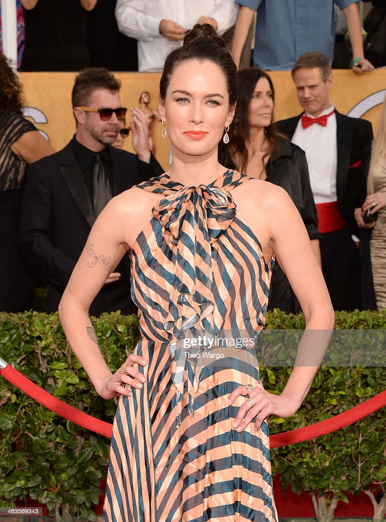 Actress <a gi-track='captionPersonalityLinkClicked' href=/galleries/search?phrase=Lena+Headey&family=editorial&specificpeople=2263449 ng-click='$event.stopPropagation()'>Lena Headey</a> attends 20th Annual Screen Actors Guild Awards at The Shrine Auditorium on January 18, 2014 in Los Angeles, California.