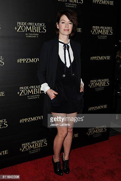 Actress Lena Headey attends the premiere of 'Pride and Prejudice and Zombies' at Harmony Gold Theatre on January 21 2016 in Los Angeles California