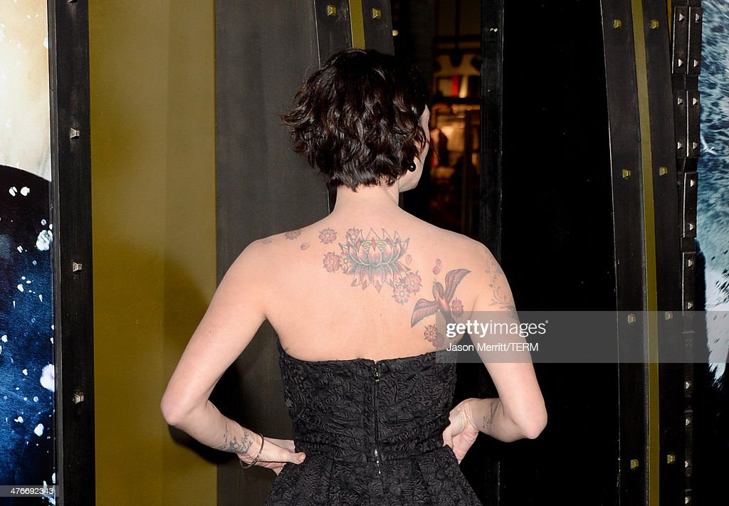 Actress Lena Headey (tattoo detail) attends the premiere of Warner Bros. Pictures and Legendary Pictures' '300: Rise Of An Empire' at TCL Chinese Theatre on March 4, 2014 in Hollywood, California.