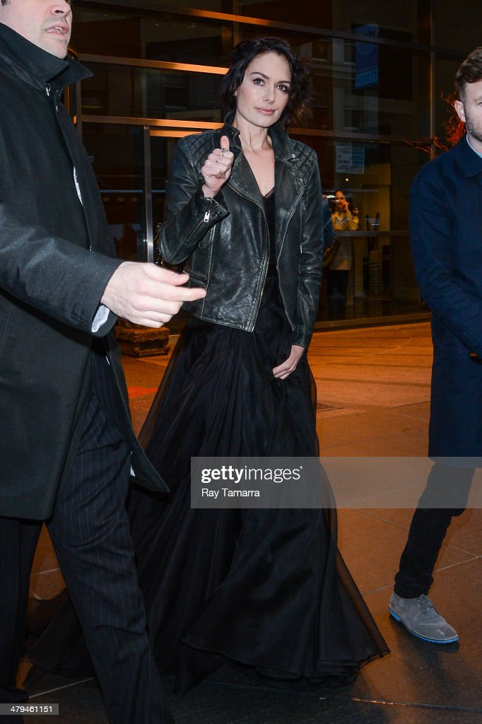 Actress Lena Headey leaves a Midtown Manhattan hotel on March 18, 2014 in New York City.