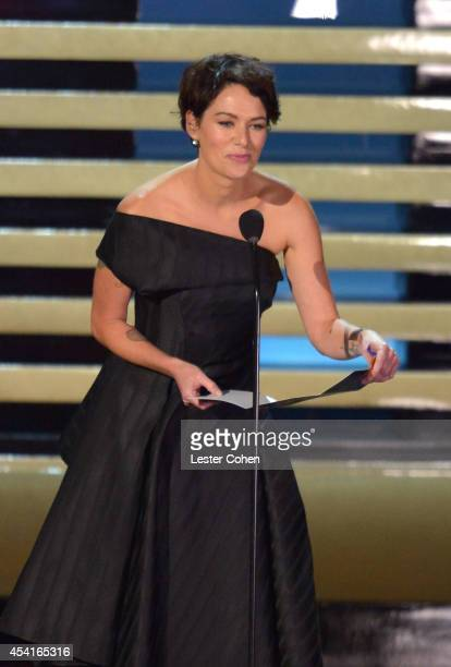 Actress Lena Headey speaks onstage at the 66th Annual Primetime Emmy Awards held at Nokia Theatre LA Live on August 25 2014 in Los Angeles California