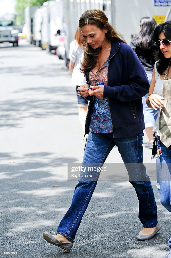 Actress Lena Olin walks to the 'Remember Me' film set in the Cobble Hill neighborhood of the Brooklyn borough on July 10, 2009 in New York City.