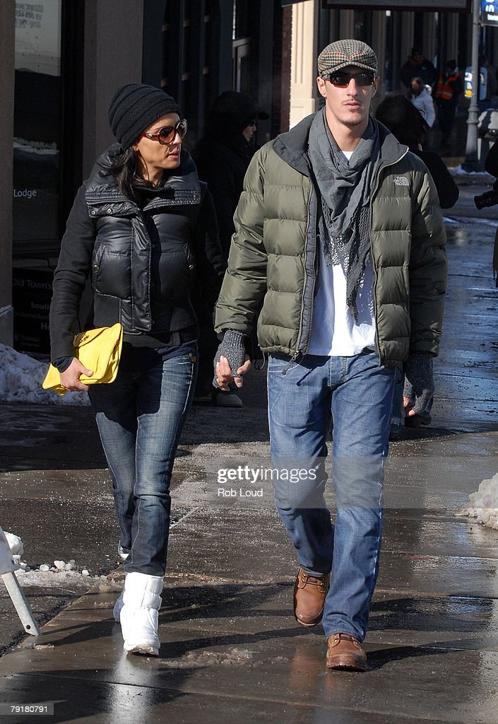 Actress Leonor Varela and actor Eric Balfour walk on Main Street during the 2008 Sundance Film Festival on January 23, 2008 in Park City, Utah.