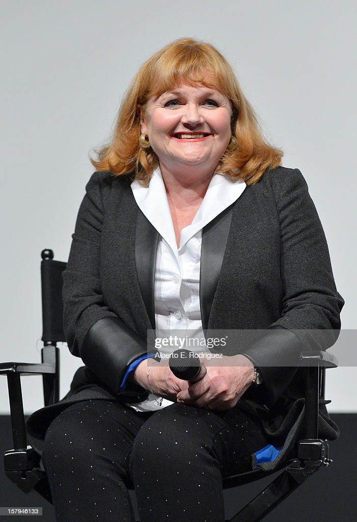 Actress Lesley Nicol smiles onstage during the Q&A session as part of The Hollywood Reporter screening of PBS Masterpiece's 'Downton Abbey' Season 3 on December 7, 2012 in West Hollywood, California.