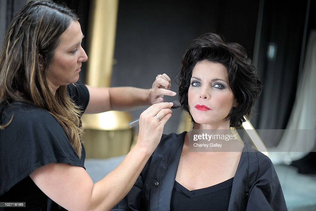 Actress Lesli Kay prepares for a photoshoot for designer Lloyd Klein's new motorcycle couture line at Lloyd Klein on July 8, 2010 in Los Angeles, California.